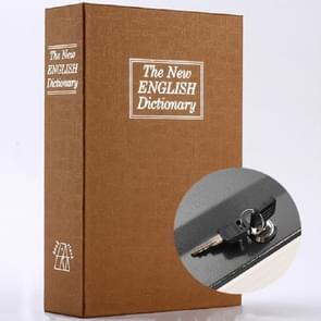 Simulation English Dictionary Book Safe Piggy Bank Creative Bookshelf Decoration, Trumpet Key Version, Color:Coffee