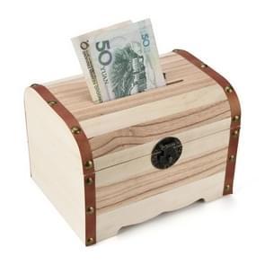 Multi Function Treasure Chest Wooden Safe Piggy Bank