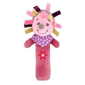 Cartoon Animal Hand Bell Rattle Interactive Toy Child Comfort Hand Grabbing Soft Plush Baby Toy(Hedgehog)