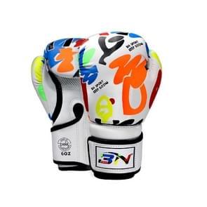 BN BN-TY1915 6OZ Graffiti Kinderen Bokshandschoenen Fighting Training Sanda Ponsen Handschoenen (Wit)