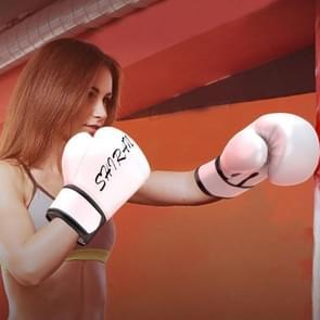 SHIRAN Q1001 Boksen Sanda Handschoenen Training Fighting Professional Fitness Handschoenen  Grootte: 10OZ (Wit)