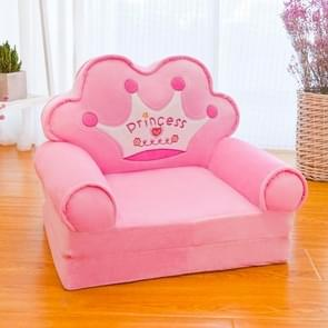 Cartoon vouwen kinderen kinderen sofa pluche speelgoed multifunctionele baby zetel kleuterschool kruk (roze kroon)