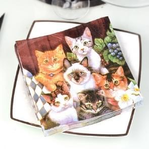 5 PCS Kleurrijke Print Cat Party Decoratie Servet gezichtsweefsel