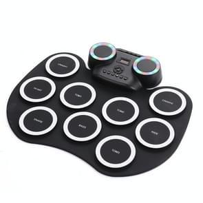 Draagbare hand roll elektronische drum knipperend licht Bluetooth Drum (Zwart wit)