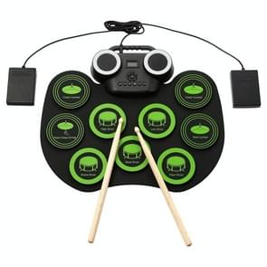 Portable Hand Roll Electronic Drum Flashing Light Bluetooth Drum (Icon Version + Black Green)