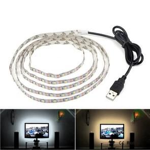 USB Power SMD 3528 Epoxy LED Strip Light Christmas Desk Decor Lamp for TV Background Lighting, Length:1m(White Light)