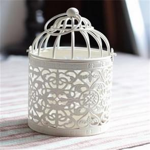 Antique Creative Bird Cage Candlestick Wrought Iron Ornaments Hollow Flower Pattern Home Decoration Crafts(A)