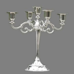 Retro Candlestick Home Decoration Living Room Cafe Theme Restaurant Jewelry Candlelight Dinner Props Gifts, Style:Silver-5 Arms