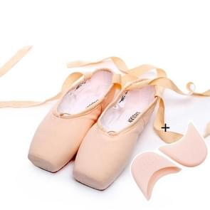 Ballet Lace Pointe Schoenen Professionele Platte Dansschoenen  Maat: 39 (Canvas + Silicone Case)