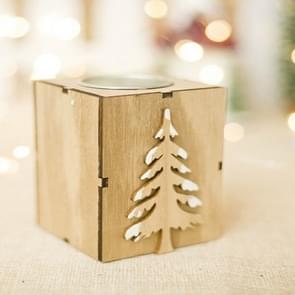 2 PCS Christmas Wood Candle Holder Candle Stick Light Decoration(Christmas trees)