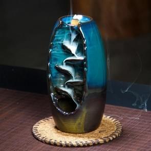 Ceramic Aromatherapy Furnace Lotus Smell Aromatic Home Office Incense Crafts Incense Burner Holder(Blue)