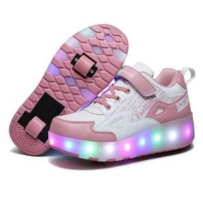 E68 Tweewielige kinderen schaatsen schoenen oplaadbare lichte wielschoenen  grootte: 27 (roze)