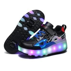 E68 Tweewielige kinderen schaatsen schoenen oplaadbare lichte wielschoenen  grootte: 28 (blauw)
