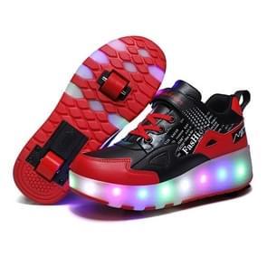 E68 Tweewielige kinderen schaatsen schoenen oplaadbare lichte wielschoenen  grootte: 34 (zwart en rood)