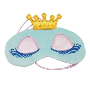 Crown Sleeping Mask Crown Eyeshade Eye Cover Travel Cartoon Long Eyelashes Blindfold Gift for Women Girls(Blue)