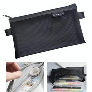 Nylon Simple Transparent Mesh Pencil Case Office School Supplies(Big Black)