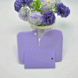 6PCS/2Set Colorful Multifunctional Irregular Teeth Edge DIY Cream Scraper Set Cake Mold Tools(Purple)