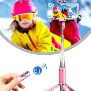 Y202 Bluetooth Selfie Stick met vloer statief staan mobiele telefoon selfie camera (roze)