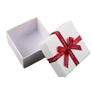 10 PCS Bowknot Jewelry Gift Box Square Jewelry Paper Packaging Box  Specification: 8x8x4.5cm(Creamy White)