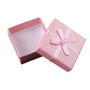 10 PCS Bowknot Jewelry Gift Box Square Jewelry Paper Packaging Box  Specification: 8x8x4.5cm(Pink)