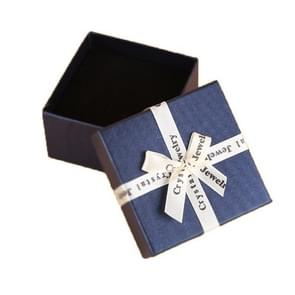 10 PCS Bowknot Jewelry Gift Box Square Jewelry Paper Packaging Box  Specification: 6.2x6.2cm(Dark Blue)