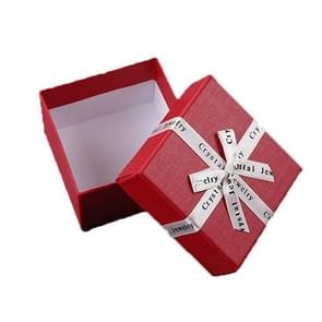 10 PCS Bowknot Jewelry Gift Box Square Jewelry Paper Packaging Box  Specification: 6.2x6.2cm(Red)