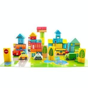 Onshine Houten Puzzel Kinderen Speelgoed 62 PCS City Traffic Scene Bouwstenen