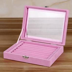 Multifunctionele Flannel Sieraden Doos Sieraden Opslag Display Packaging Box (Pink 02)