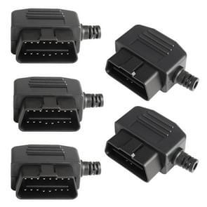 5 PCS 16PIN Auto Mannelijke Connector OBD2 Connector Plug + Shell + Line Card + Schroef OBD Plug J1962M
