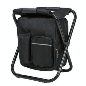 Multifunctionele opvouwbare kruk draagbare ice pack kruk lichtgewicht buitenkruk (Zwart)