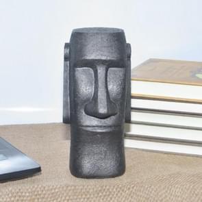 Paaseiland Stone Figuur Piggy Bank Home Standbeeld Decoratie (Zwart)