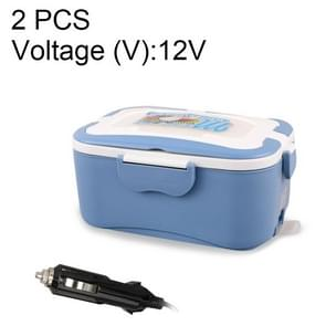 2 PCS Electric Food Heating Lunch Box 304 Stainless Steel Inner Pot Portable Electric Heated Food Warmer Box, Voltage (V):12V(Blue)