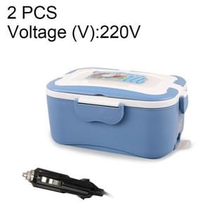 2 PCS Electric Food Heating Lunch Box 304 Stainless Steel Inner Pot Portable Electric Heated Food Warmer Box, Voltage (V):220V(Blue)