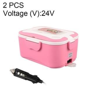 2 stuks elektrische voeding verwarming lunch box 304 roestvrijstaal Inner pot draagbare elektrische verwarmde voedsel warmer vak, spanning (V): 24V (roze)