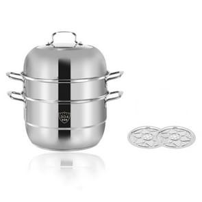 Shengjia Household Stainless Steel Three-layer Double Bottom Multi-function Steamed Bun Steamer  Size:28cm  Style:Three Layers (Solid Ears)