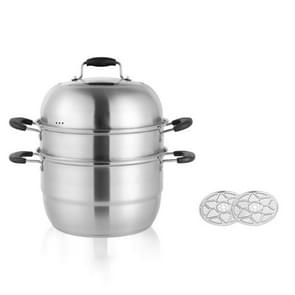 Shengjia Household Stainless Steel Three-layer Double Bottom Multi-function Steamed Bun Steamer  Size:28cm  Style:Three Layers (Electric Fungus)