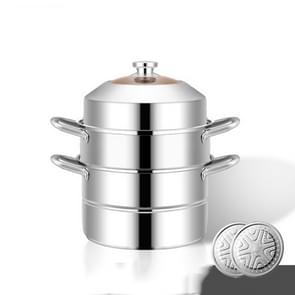 Shengjia Household Stainless Steel Three-layer Double Bottom Multi-function Steamed Bun Steamer  Size:28cm  Style:Three Layers (Extra-thick) Shengjia Household Stainless Steel Three-layer Double Bottom Multi-function Steamed Bun Steamer  Size:28cm  Style: