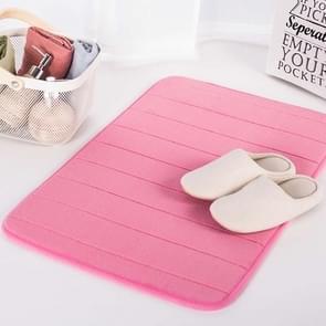 Non Slip Water Absorption Rug Bathroom Mat Shaggy Memory Foam Kitchen Door Floor Mat, Size:50X90CM(Pink)