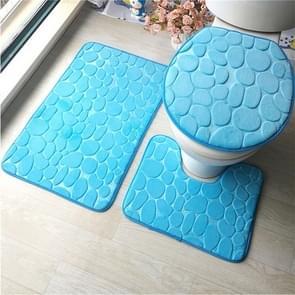 2 Sets Three-Piece Set Flannel Anti-Slip Kitchen Bath Toilet Rug Mat Washable Carpet(Blue Cobblestone)