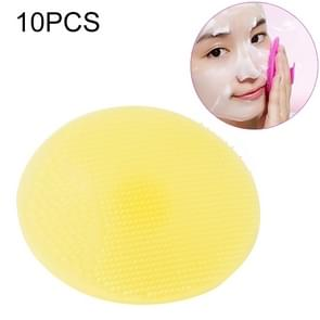 10 PCS Cleaning Pad Wash Face Facial Exfoliating Brush SPA Skin Scrub Cleanser Tool(YELLOW)