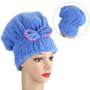Coral Velvet Dry Hair Cap Cute Princess Shower Cap Dry Hair Towel Quick Dry Water(Blue)