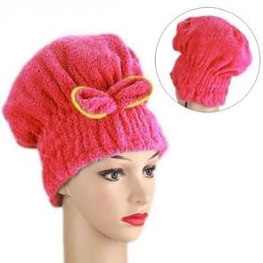Coral Velvet Dry Hair Cap Cute Princess Shower Cap Dry Hair Towel Quick Dry Water(Deep pink)