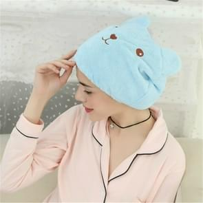 Cartoon Bear Dry Hair Cap Adult Wrapped Towels Shower Hats(Blue)