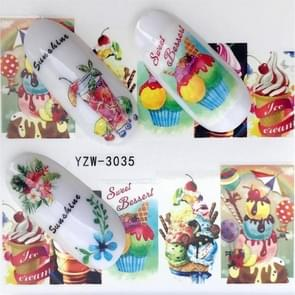 5 PCS Water Transfer Stickers Decals Flower Stickers for Nails, Color:YZW-3035