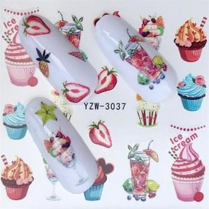 5 PCS Water Transfer Stickers Decals Flower Stickers for Nails, Color:YZW-3037