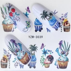 5 PCS Water Transfer Stickers Decals Flower Stickers for Nails, Color:YZW-3039