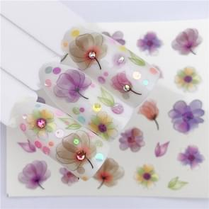 5 PCS Water Transfer Stickers Decals Flower Stickers for Nails, Color:YZW-3047