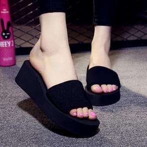 Non-slip High Heel Slipper Summer Beach Sandals Slip for Women, Shoe Size:38(Black)