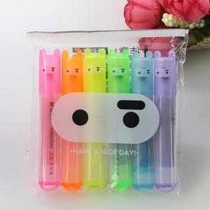 6 PCS Creative Cartoon Cute Rabbit Mini Fluorescent Pen