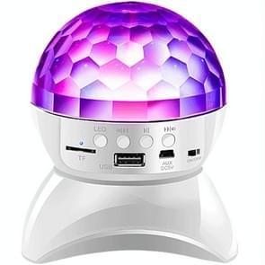 Draadloze Bluetooth Speaker 360 graden roterende Crystal Magic Ball Lights kleurrijke stage lichten  ondersteuning 32GB TF Card & AUX (Wit)